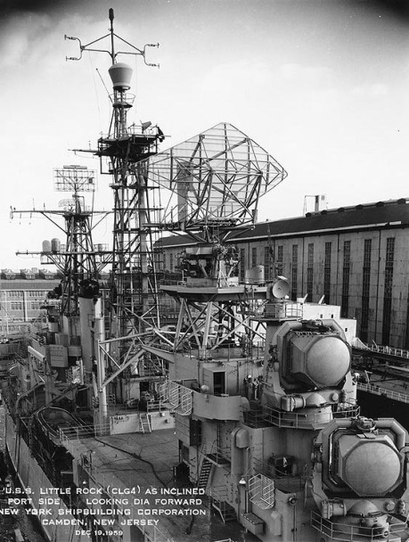 USS Little Rock (CLG-4) alongside the outfitting pier at New York Ship after completion. One of the U.S. Navy's first nuclear-armed guided missile cruisers, Little Rock served primarily in the Mediterranean as flagship, 6th Fleet. Photo is dated December 19, 1959.