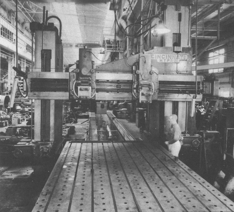 One of the many large capacity planer machines at New York Ship, with a platen travel of 40 feet. Heavy industrial machinery such as this made the construction of extremely complex ships possible in Camden, NJ.