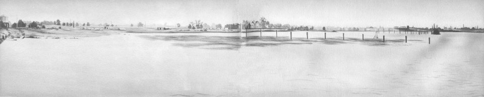 1899: Artists drawing, from an old photograph, of the 160 acre farm on the Delaware River selected as the site of the New York Shipbuilding Company. The old farmhouse, near the center of this picture, was moved to the street and is now an integral, but distinctive, part of the Employment Office and Hospital Buildings.