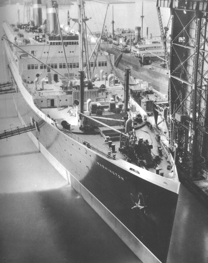The ocean liner SS Washington in New York Shipbuilding Corporation's outfitting bin.