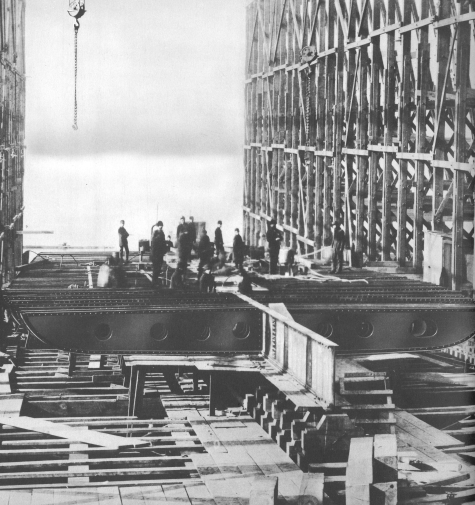 The J.M. Guffey under construction.