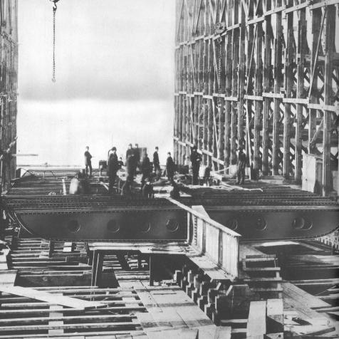 The J.M. Guffey under construction.