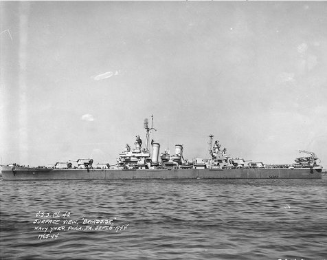Savannah in Philadelphia on 5 Sept 1944, after repair and upgrades