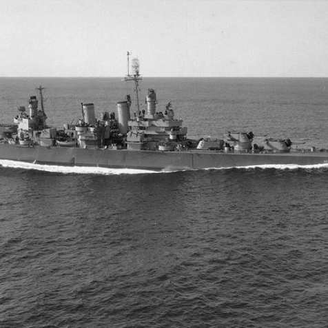 USS Savannah (CL-42) photographed from a blimp of squadron ZP-11, while underway off the New England coast on 30 October 1944.
